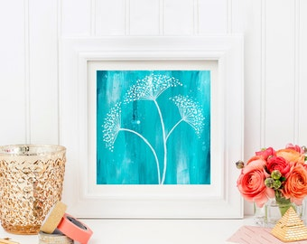 Teal Baby's Breath Art Print. Abstract Flower Wall Art. Teal Flower Print. Mother's Day Gift. Office Wall Decor. Gift for Mom. Gift for Her.