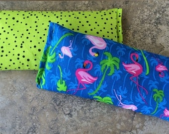 Need MIGRAINE Relief? Allergy Season Relief? Tension Headache Relief? Eye Pillow, Heat Cold Therapy, Fun Flamingos, Natural Flaxseed Pack