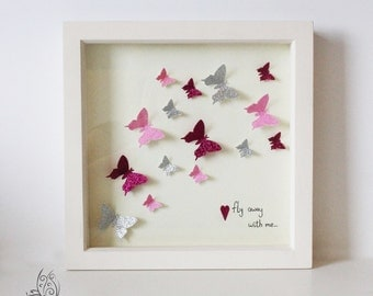 Butterfly Fly Away With Me Flutter Picture Frame Pink 9x9""