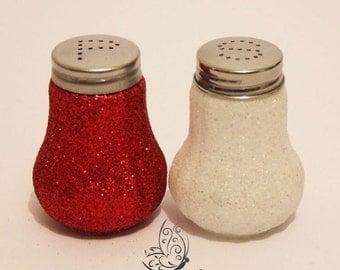 Glitter Salt & Pepper Shakers Set Red and White