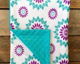 Minky Baby Blanket - Turquoise & Purple Sunburst Print with Turquoise Dot