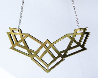 statement necklace acrylic glass gold / geometric design /