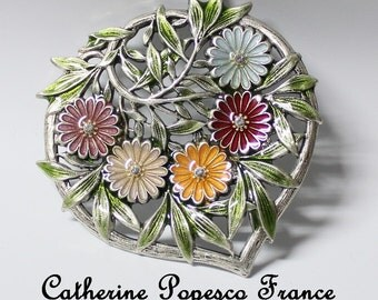Vintage Catherine Popesco Brooch, Signed,64x64mm (B1-12)