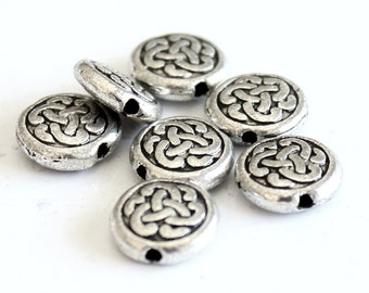 25pcs--Round Coins Beads Metal, Antique Silver, 3.5x9.5mm (B54-4)