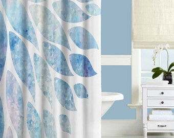 Pink Blue Shower Curtain Blue White Bathroom Curtain Blue Bathroom Decor Floral Shower