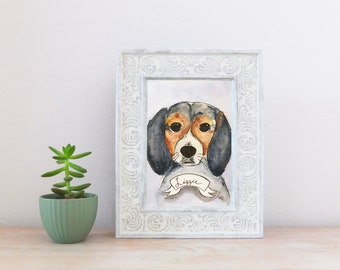 Beagle Dog CUSTOM Pet Portrait Watercolor Illustration