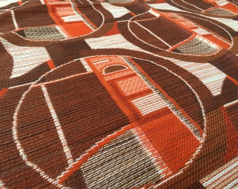 Vintage 70s fabric 50x120cm red brown geometric circle x 9