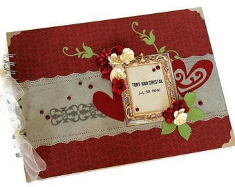 Red Wedding Guestbook - Wedding Signing Book - Unique Guest Book - Best Engagement Gift - Romantic Guest Book - Wedding Reception Decor
