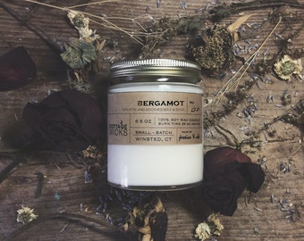 Bergamot Scented Soy Candles Artisanal Small Batch Hand Poured Made in New England Soy Candle