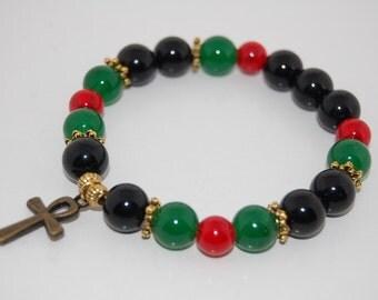 Ankh Cross Bracelet,Stone 10mm Beads,Key of Nile,Breath of Life Bracelet,Man,Woman,Pray,Good Luck,Yoga, Protection,Meditation,Ankh Cross