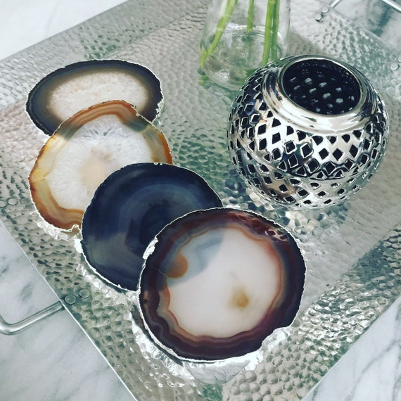 Silver Plated Natural Coasters