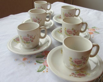 Lovely Ceramic Coffe Set for 6 persons 12 pieces, Vintage floral coffey set, Lovely vintage USSR coffey set for 6