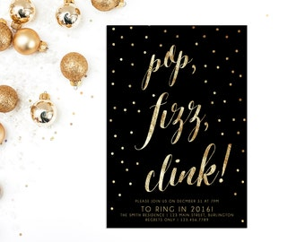 New Years Eve Invitation, New Years Eve Party, New Years Eve Invites, New Years Invites, New Years Eve Printable, Gold Glitter, 2016