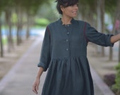 Paris, Pure handloom Khadi Cotton Dress in Charcoal with Contrast Hand Embroidery