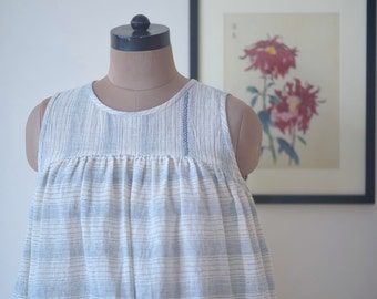Sydney, Kala Organic Cotton Cocoon Dress in White & Indigo, Embroidered