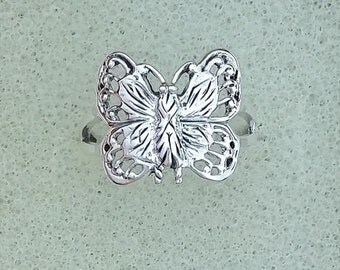 Solid Sterling Silver Butterfly Ring