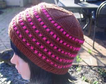 Womens Brown and Pink Hat, Womens Winter Hat, Ladies Warm Hat, Accessories, Womens Knit Hat, Handmade Hat, Hand Knitted Hat, Womens Hat