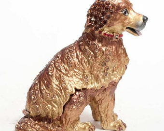 Jewelry box for girl Faberge style trinket box Dog with Austrian crystals - kodfb12