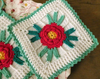 Crocheted Red Rose Pot Holders, Set of 2
