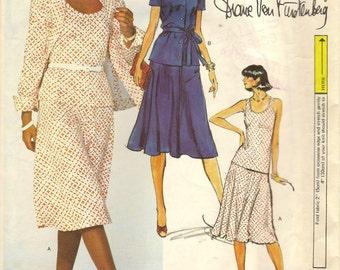 70s Vintage Vogue 1611 American Designer Original Pattern Jacket Skirt Top Diane Von Furstenberg Sz 12 Uncut