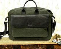 """Leather bag men, Mens leather bag, Mens leather messenger bag, Canvas Leather shoulder bag messenger bag laptop satchel mens """" Eugeene"""" bag"""