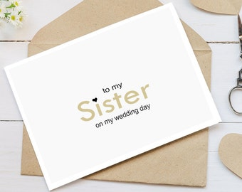 letter to sister on wedding day wedding card etsy 42613