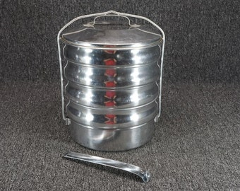 Vintage Regalware Inc. Quality Aluminum 5 Tier Serving Dish Stack W/ Carry Tool