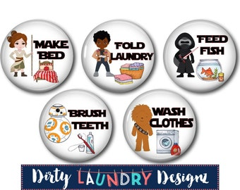 Custom Chore Magnets/Magnetic Chore Chart Buttons/ Kids Chore Chart Magnets/ NEW Space Wars