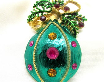Vintage Rhinestone Christmas Ornament Brooch