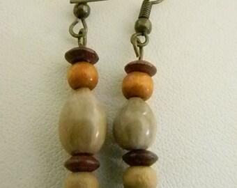 Brown Tan Beaded Job's Tear Coixseed Dangle Pierced Earrings