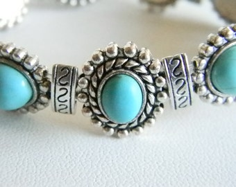 Silver Tone Faux Turquoise Stone Stretchy Bracelet