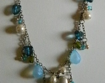 Gray Silver Tone Blue Green Pearls Heart Beads Necklace