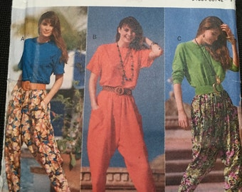 Butterick Pattern # 4934 Pants. Loose fitting, pullover top and baggy pants with elastic waist 1990s Hard to find pattern