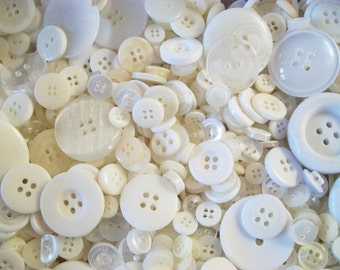 100 White Buttons, Wholesale Sewing, Knitting Supplies, Bulk Buttons, Notions, Scrapbooking Craft Supplies, Small White Button Art, DESTASH
