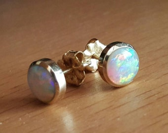 14K Gold earring studs with Natural Solid Opal gemstones