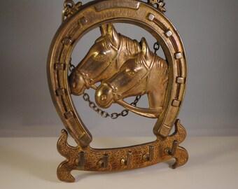 Vintage brass horse heads,horse shoe,hanger