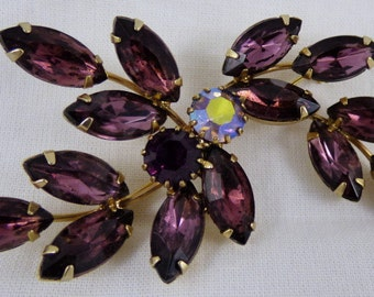 Large Juliana Purple Amethyst Brooch Pin 3""