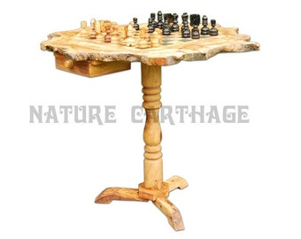 Birthday gift /  Olive wood rustic chess board 20 Inch with stand 23 Inch / Original present