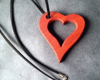 Redheart wood heart pendant necklace