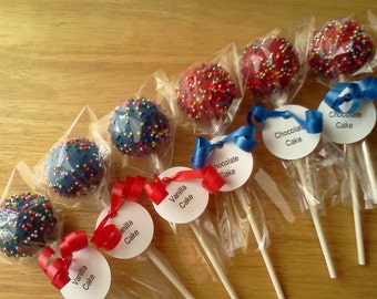 Celebration Cake Pops, Red Cake Pops, Blue Cake Pops, 1 Dozen