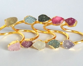 5 pcs Wholesale pentagon Shape Natural Druzy Ring Gold Plated Double Agate Druzy Geode Adjustable Wrap Ring Gemstone Jewelry  RI05