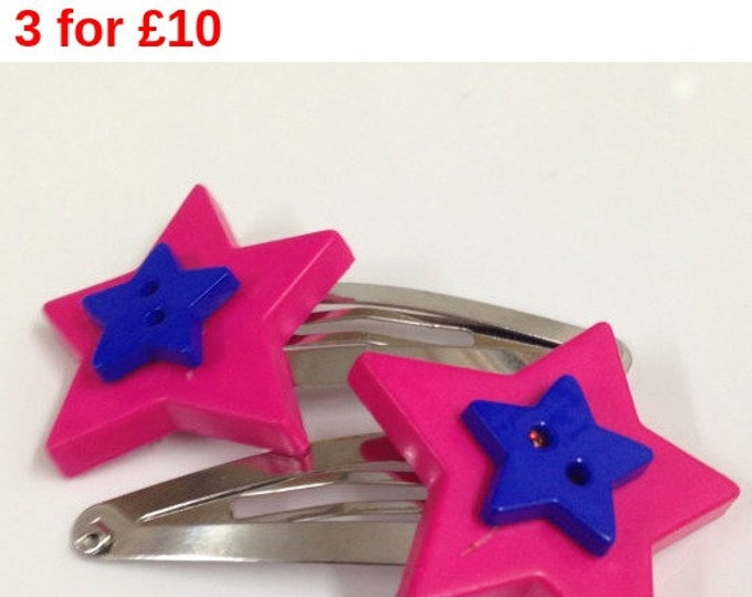 Pink and blue star button children's hair clip, star hair clip, children's hair accessories, pink and blue hair clip, button hair clip
