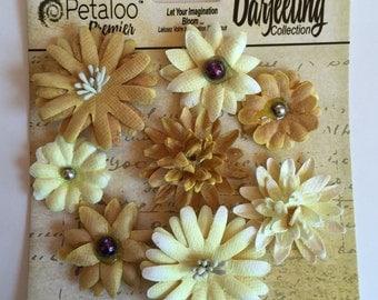 Paper flower, Petaloo Premier Darleeling Collection Paper Flower, yellow flowers, flower scrapbook embellishment, flower embellishment