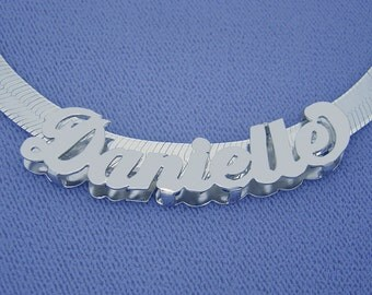 Silver 3D Personalized Name Necklace Slider & 7 mm Herringbone Chain SND91