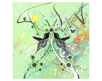 Hummingbird Love Print