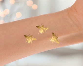 3 Gold Metallic Bee Temporary Tattoos, Bumblebee Tattoo, Gold Jewelry Bumblebee Tattoo