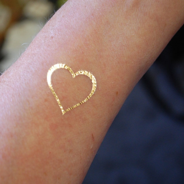 Custom temporary gold foil tattoos by skinjewels on etsy for Gold foil tattoo