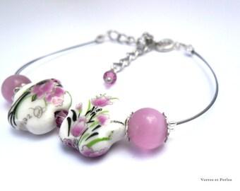 Bracelet beads pink flowers