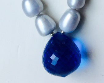 Grey Pearl and Blue Sapphire Prism Necklace