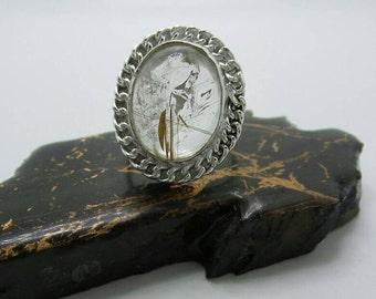 Rutilated Quartz Silver Ring, size 8.